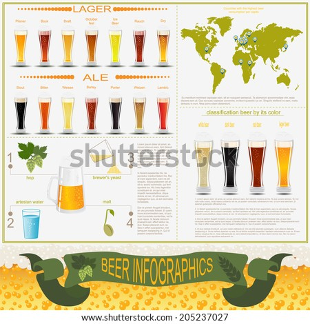 Beer infographics, set elements, for creating your own infographics. Vector illustration - stock vector