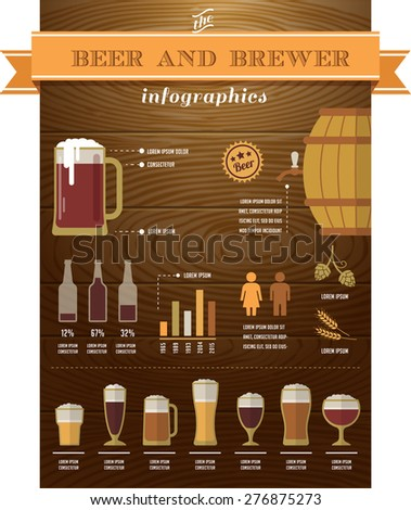 Beer infographics with collection of icons and elements - stock vector
