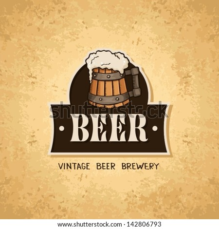 Beer label on old paper texture.Vintage style - stock vector
