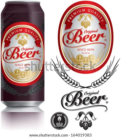 Beer Label vector visual on Black aluminum drinks can 500 ml, ideal for beer, lager, ale, stout etc. Can drawn with mesh tool. Fully adjustable & scalable. - stock vector