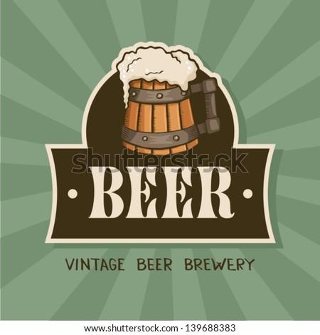 Beer label.Vintage style. - stock vector