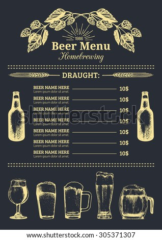 Beer menu design template vector beer menu template for for Irish menu templates
