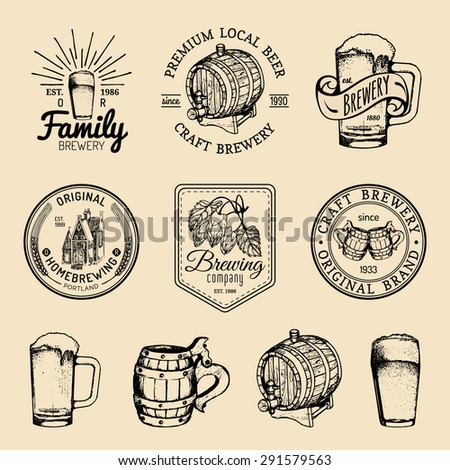 Beer mug, glass.Old brewery.Beer labels. Brewery sketch. Beer bar. Brewery background. Craft beer. Beer  illustration. Vector set of vintage brewery logo. Retro logotypes collection with beer elements - stock vector