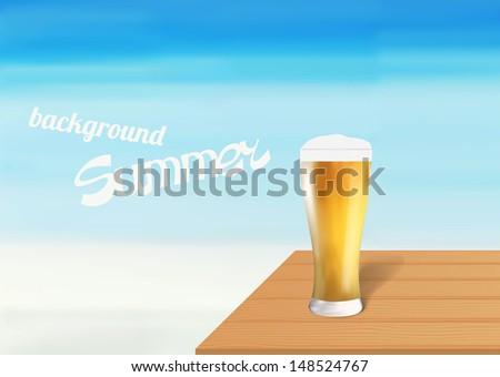 Beer on a beach - stock vector