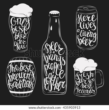 Beer pint glassware and bottle, wooden barrel and steel or aluminium beverage can silhouettes. Lettering with beautiful font or type on mug, stein, jug with cask ale and lager, bright and dark beer.  - stock vector