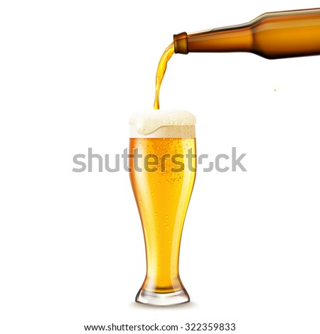 Beer pouring from dark bottle to glass realistic vector illustration - stock vector