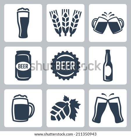 Beer related vector icons set - stock vector