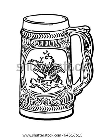 Beer Stein - Retro Clipart Illustration - stock vector
