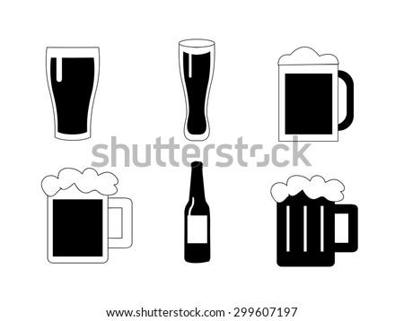 Beer vector icons set  - stock vector