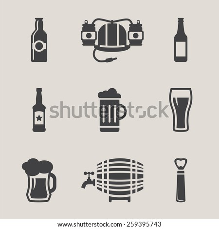 Beer vector icons set  bottle, glass, pint - stock vector