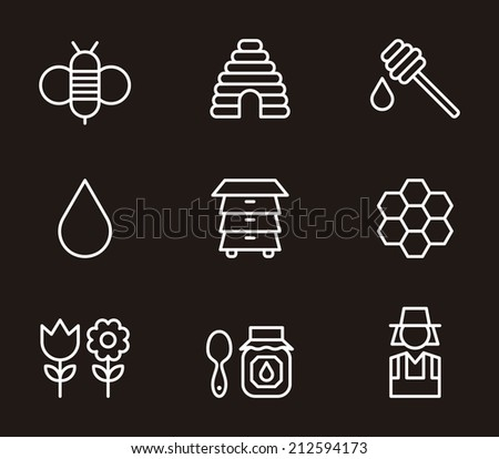 Bees & Honey icons - stock vector