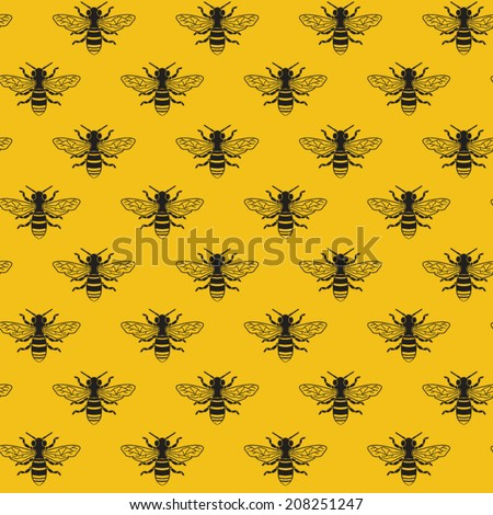 Bees seamless pattern vector - stock vector