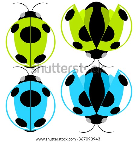 Beetle green and cyan fly cartoon illustration - stock vector
