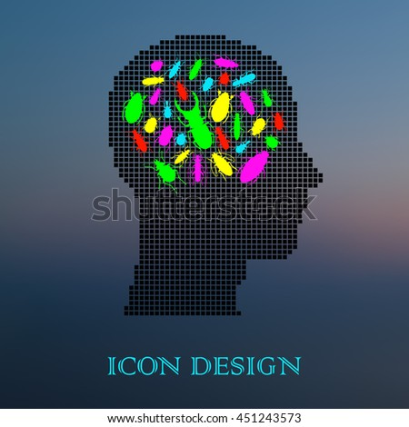Beetles in human head. Thinking process concept. Vector illustration. - stock vector