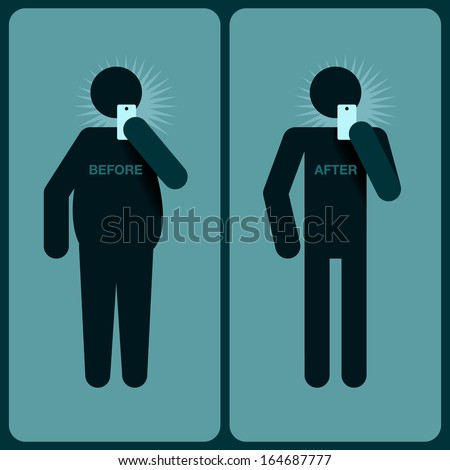 Before and after a diet, silhouette of man, vector image.  - stock vector