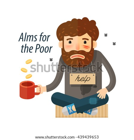 Beggar asking for money. Pauper and bum icon. vector illustration - stock vector