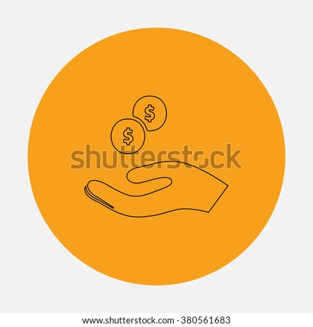 beggar Outline vector icon on orange circle. Flat line symbol pictogram  - stock vector