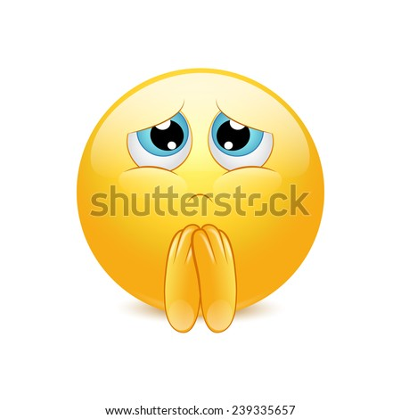 Begging yellow ball showing clasped hands. Vector - stock vector