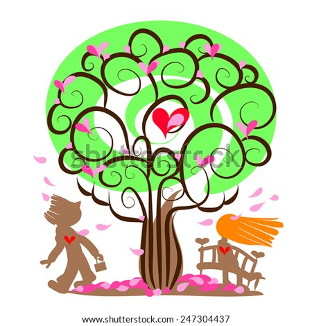 Begin of love illustration. First date.Spring tree with hearts, petals  fall, girl or women sitting on bench and man look at her. Fall in love. Vector silhouettes. Romantic couple.  - stock vector