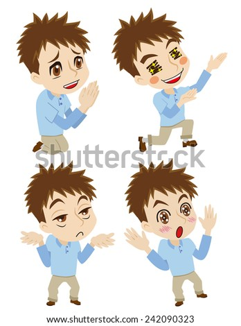 behavior of young man  - stock vector