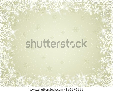 beige background with snowflakes, vector illustration - stock vector