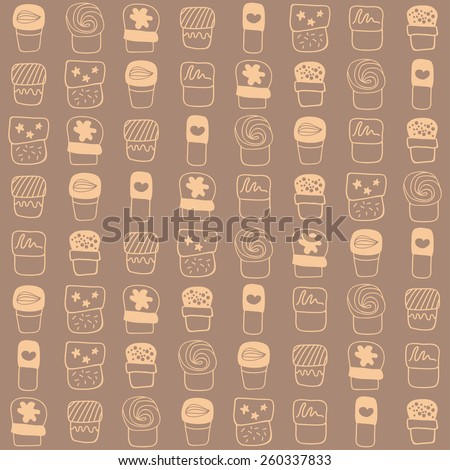 Beige background with sweets suitable for packages or cookbooks for postcards or greeting. - stock vector