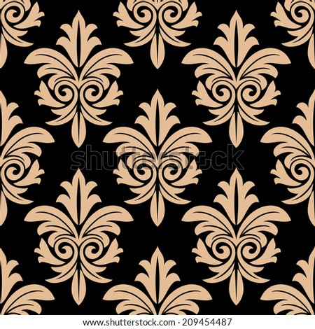 Beige colored  floral arabesque elegant seamless pattern with leaf in damask style isolated on black colored background.Suitable for wallpaper and textile design  - stock vector