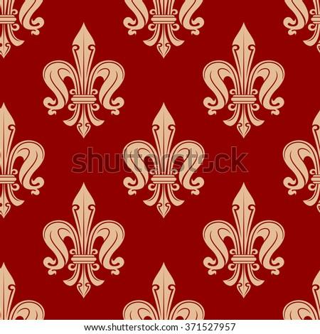 Beige fleur-de-lis floral elements on maroon background seamless pattern. For textile or interior design - stock vector