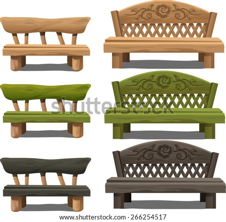 beige, green and black wooden benches - stock vector