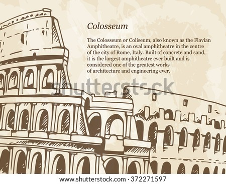 Beige poster with hand drawn illustration of Coliseum (Colosseum) in vintage style, italian travel grunge background with place for your text - stock vector