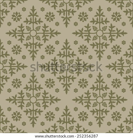 Beige seamless background. Floral elements. Pattern for wallpaper and textile. Editable vector file.  - stock vector