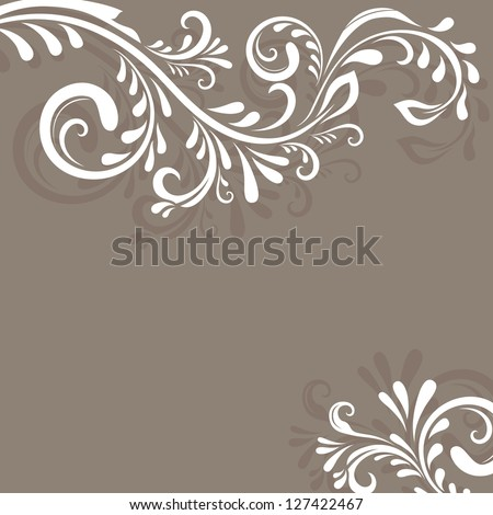 Beige vector background with floral ornament and copy space. - stock vector