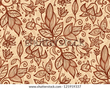 Beige vector flowers and leaves seamless pattern - stock vector