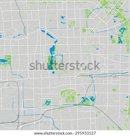 Beijing vector map ultra detailed - stock vector