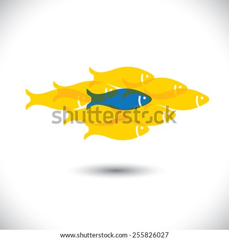 Being different, taking risky, bold move for success in life - Concept vector. The graphic of fishes also represents the concept of courage, boldness, enterprise, confidence, belief, fearless, daring - stock vector