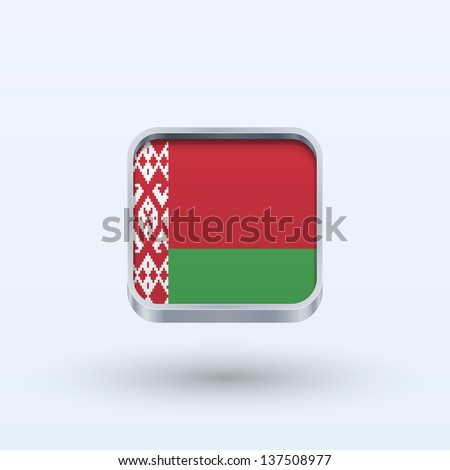 Belarus flag icon square form on gray background. Vector illustration. - stock vector