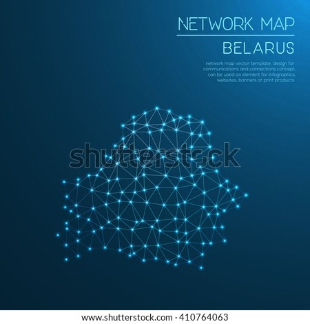 Belarus network map. Abstract polygonal Belarus network map design with glowing dots and lines. Map of Belarus networks. Vector illustration. - stock vector