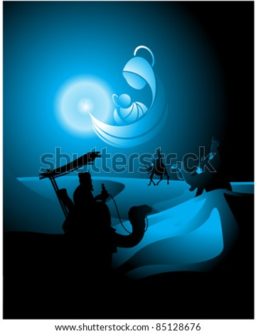 belen star shapes the icon of the Nativity and guide in his journey to the Three Kings - stock vector