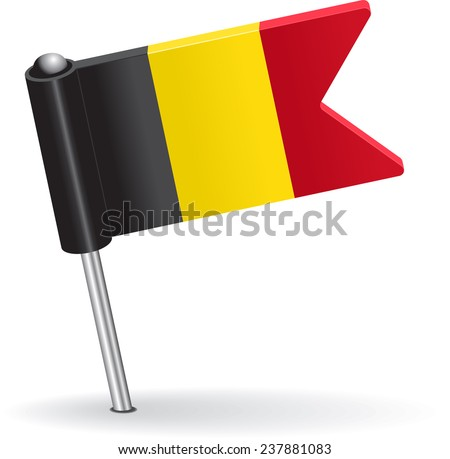 Belgian pin icon flag. Vector illustration Eps 8. - stock vector