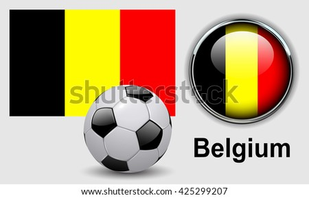 Belgium flag icons with soccer ball, vector design. - stock vector