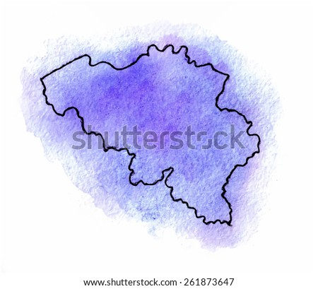 Belgium vector watercolor map illustration - stock vector