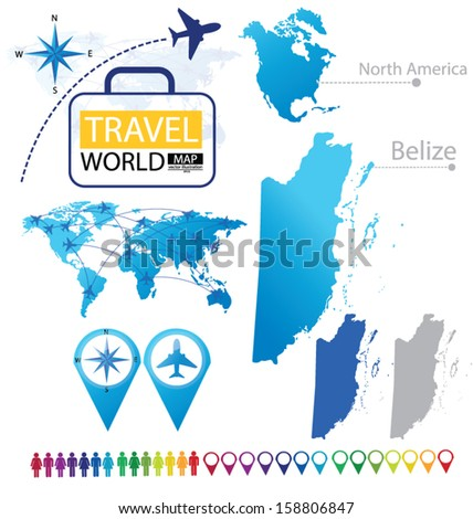 Belize. flag. North america. World Map. Travel vector Illustration. - stock vector