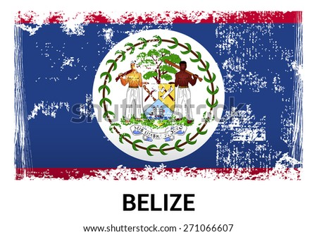 Belize grunge flag isolated vector in official colors and Proportion Correctly. country's name label in bottom - stock vector