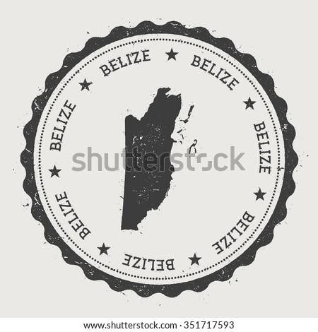 Belize. Hipster round rubber stamp with Belize map. Vintage passport stamp with circular text and stars, vector illustration - stock vector