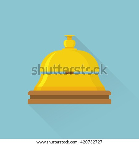 Bell icon vector illustration. Bell for the hotel, hospital. Service bell isolated flat design with long shadow. Service bell on reception. - stock vector