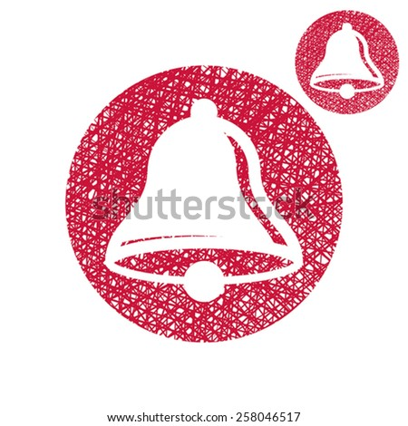 Bell vector simple single color icon isolated on white background with sketch lined hand drawn texture. - stock vector