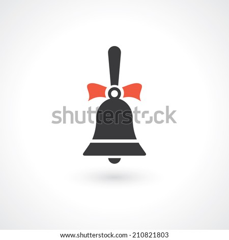 bell with ribbons. vector icon eps10 - stock vector