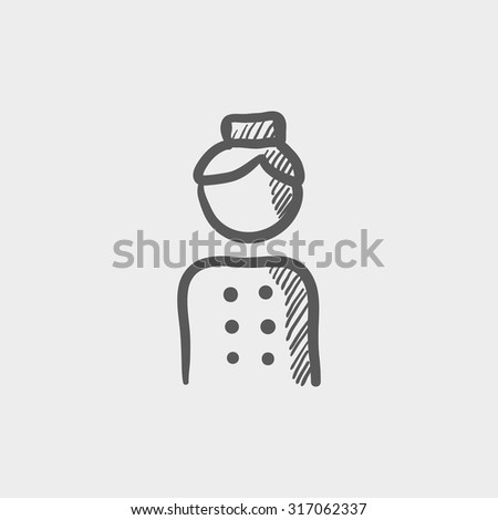 Bellboy sketch icon for web, mobile and infographics. Hand drawn vector dark grey icon isolated on light grey background. - stock vector