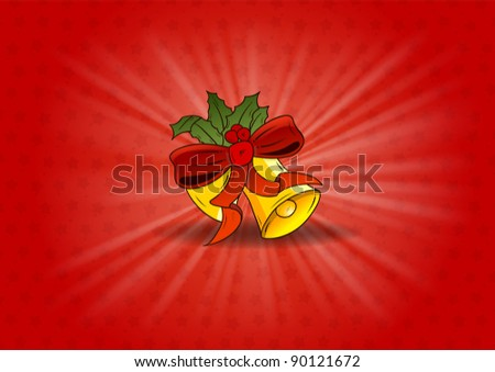 bells on the red background - stock vector
