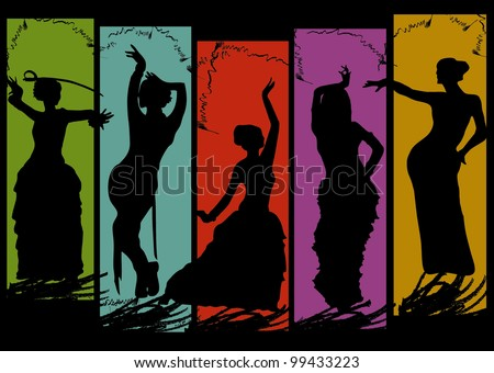 belly dancing black woman silhouette on color background - stock vector